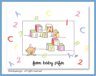 ABCs & 123s folded note cards, personalized