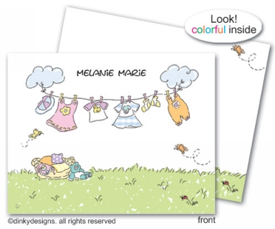 Little girls clothesline folded note cards, personalized
