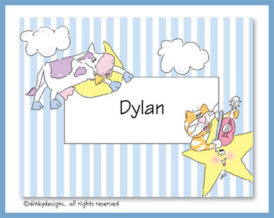 Hey diddle, diddle folded note cards, personalized
