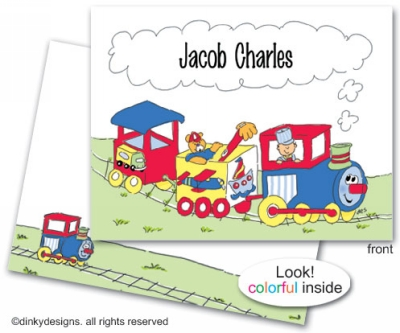 Planes, trains & automobiles folded note cards, personalized