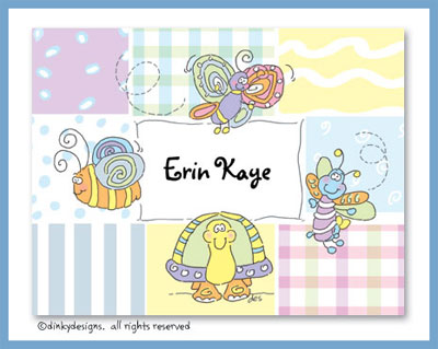 Buzzin bugs folded note cards, personalized