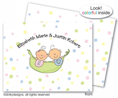 Peas in a pod twins girl/boy folded note cards, personalized note card