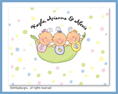 Peas in a pod triplets 3 girls folded note cards, personalized