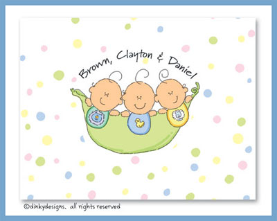 Peas in a pod triplets 3 boys folded note cards, personalized