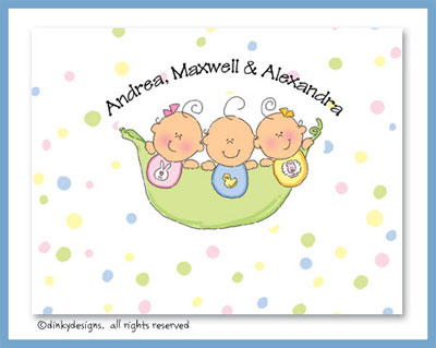 Peas in a pod triplets 2G/1B folded note cards, personalized