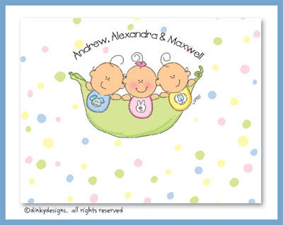 Peas in a pod triplets 2B/1G folded note cards, personalized