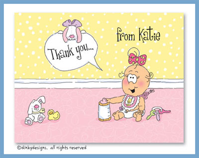 Shopping mall baby girl folded note cards, personalized