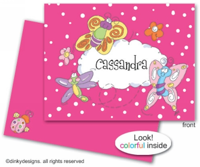 Flutterbies & fireflies folded note cards, personalized