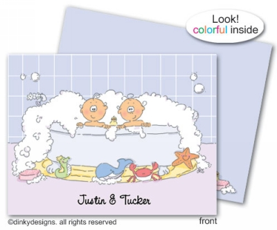 Rub a dub twins folded note cards, personalized