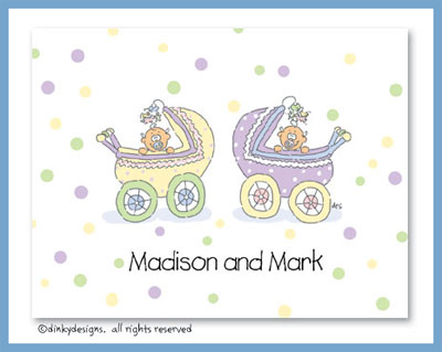 Carriage twins folded note cards, personalized