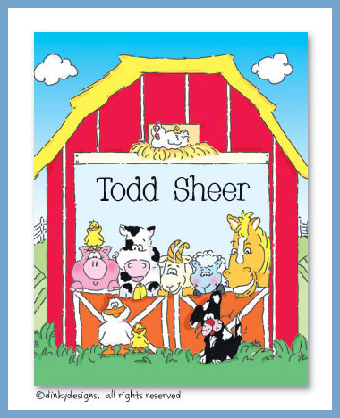 Barnyard pals folded note cards, personalized