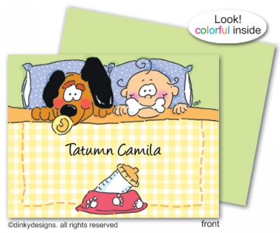 Dog gone baby folded note cards, personalized