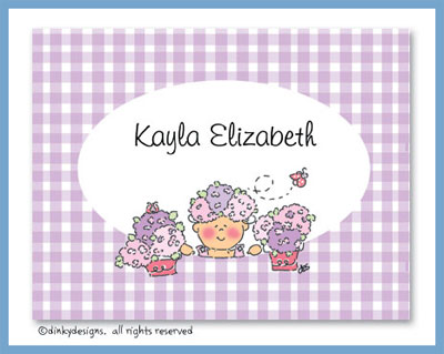 Hydrangea baby folded note cards, personalized