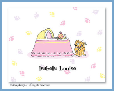 Girl & puppy bassinet folded note cards, personalized