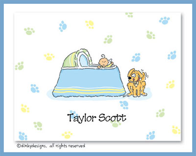 Boy & puppy bassinet folded note cards, personalized