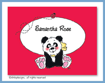 Panda baby folded note cards, personalized