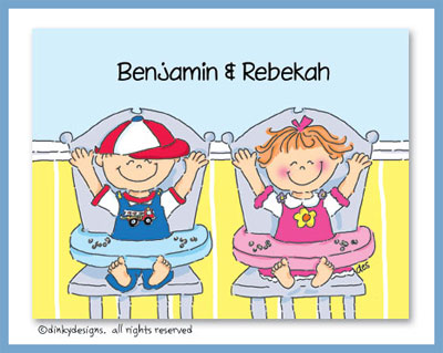 Twins birthday boy and girl folded note cards, personalized