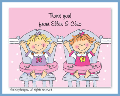 Twins birthday girl/girl folded note cards, personalized