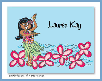 Teenie wahine folded note cards, personalized