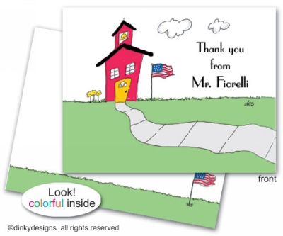 School house folded note cards, personalized