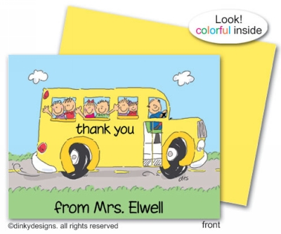 School bus folded note cards, personalized