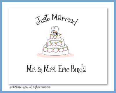 Whimsical wedding cake folded note cards, personalized