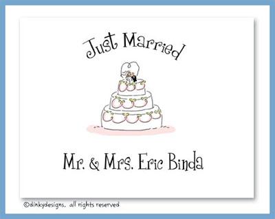 Whimsical wedding cake folded note cards, personalized