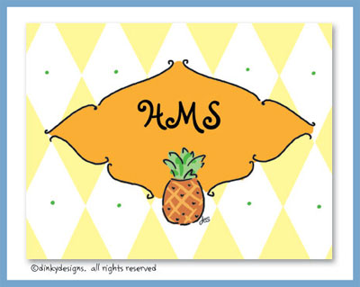 Pineapple folded note cards, personalized
