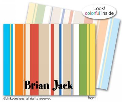 Khaki parade folded note cards, personalized