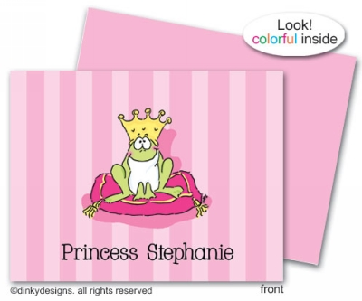 Frog prince folded note cards, personalized