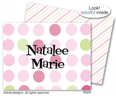Pink-a-boo folded note cards, personalized