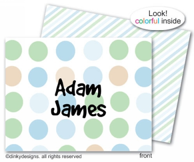Peek-a-blue folded note cards, personalized