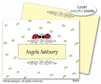 Ladybug with daisy & border folded note cards, personalized