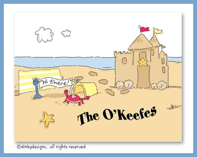 Sandcastle & crab folded note cards, personalized
