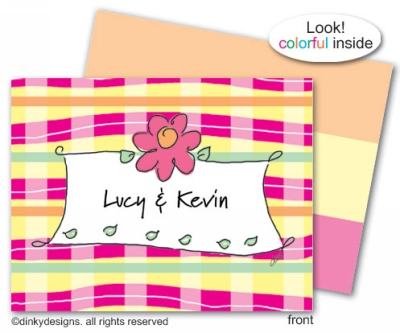 Pretty plaid folded note cards, personalized