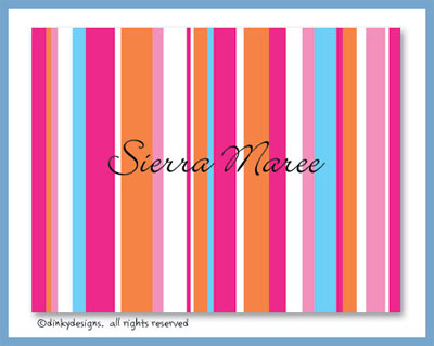 Summer line folded note cards, personalized
