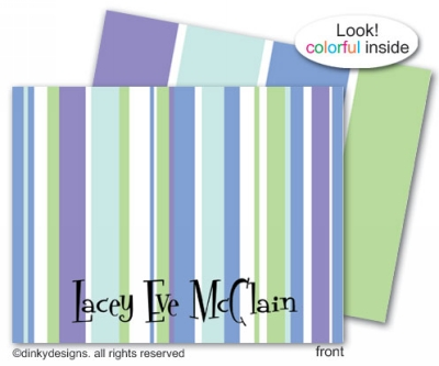 Winter line folded note cards, personalized
