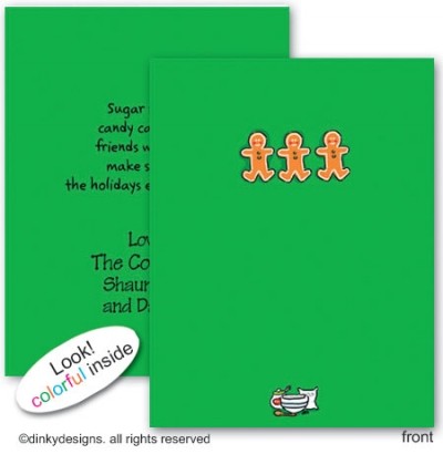 Gingerbread trio folded note cards, personalized