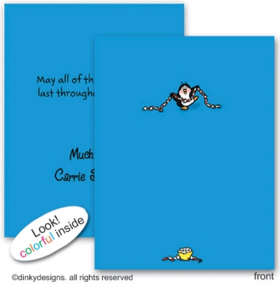 Penguin & popcorn folded note cards, personalized