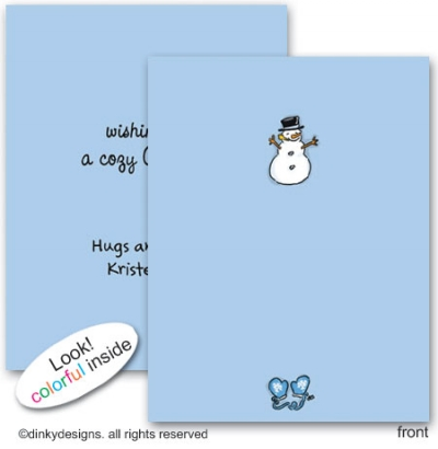 Snowman & mittens folded note cards, personalized