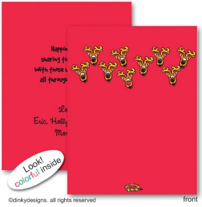 Eight tiny reindeer folded note cards, personalized