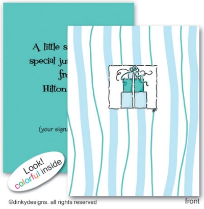 Teal trio folded note cards, personalized
