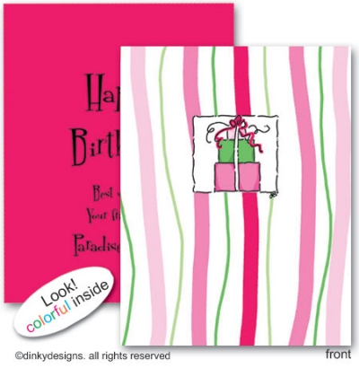 Pink trio folded note cards, personalized