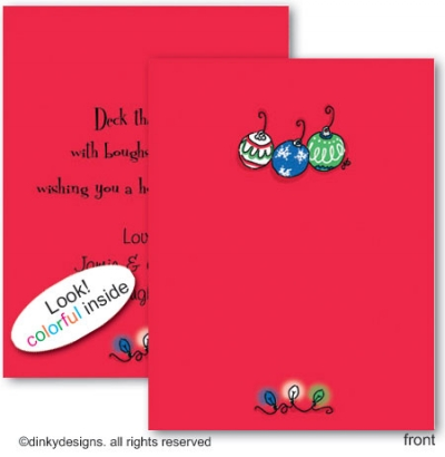 Deck the tree folded note cards, personalized