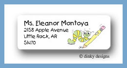 Worm with pencil return address labels personalized