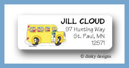 School bus with kids return address labels personalized