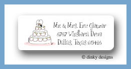 Whimsical wedding cake return address labels personalized