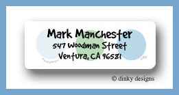 Peek-a-blue dots return address labels personalized