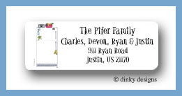 Freezer door posting return address labels personalized