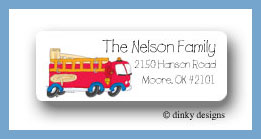 Fire truck return address labels personalized
